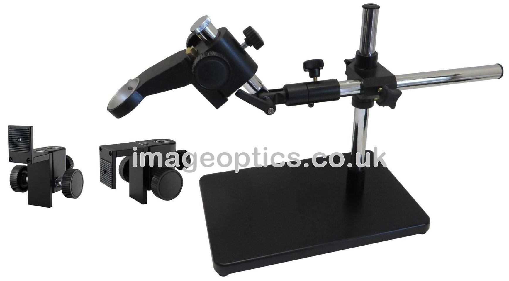 Boom stand with holders for camera or macro zoom lens